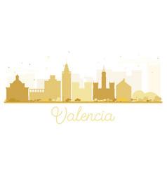 valencia city skyline golden silhouette vector image