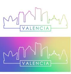 Valencia skyline colorful linear style vector