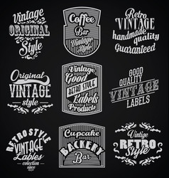 vintage retro labels with black background vector image