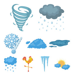 weather set icons in cartoon style big collection vector image
