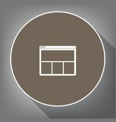 web window sign white icon on brown vector image