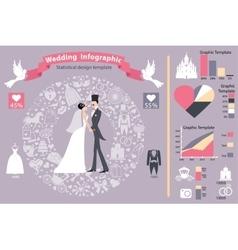 Wedding infographics setRetro bridegroomicons vector