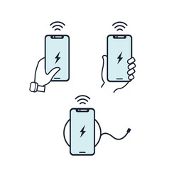 wireless charger hands holding vector image