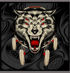 Wolf hand drawing vector