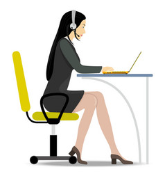 Woman with headset on her head sitting on a chair vector