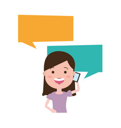 woman with smartphone and speech bubble character vector image