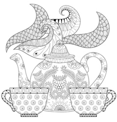 Zentangle stylized ornamental teapot with steam vector