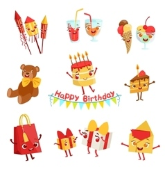 Cute birthday party celebration things characters vector