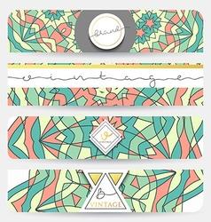 Set of 4 banner Mandala geometric pattern vector image
