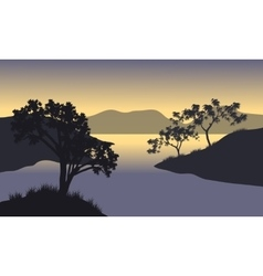 Silhouette of hills and tree at the morning vector image vector image