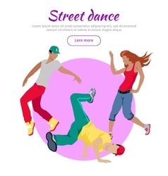Street Dance Concept Flat Style Web Banner vector image vector image