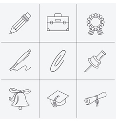 Graduation cap pencil and diploma icons vector image vector image