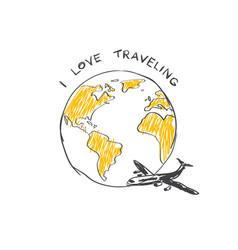 i love trabeling sketch logo airplane flying vector image vector image