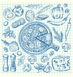 sketched contoured italian pizza vector image vector image