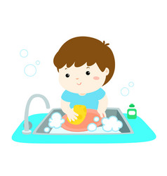 happy boy washing dish on white background vector image