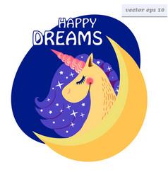 happy dreams unicorn vector image