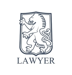 Lawyer icon or emblem with heraldic lion vector