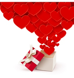 Open box with flying hearts vector image