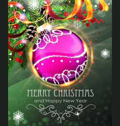purple christmas bauble with fir branches and vector image