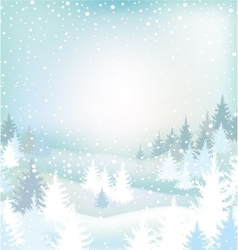 Winter landscape with trees vector