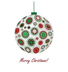 christmas ball made of snowflakes vector image