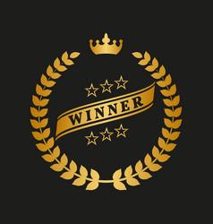 golden laurel wreath with crown vector image