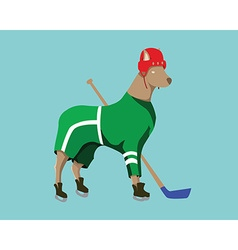 Hockey Dog Mascot in Green Sportswear vector image