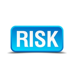 Risk blue 3d realistic square isolated button vector image vector image
