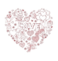 Valentines Day Doodles in heart shape vector image