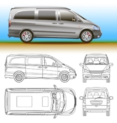 van template commercial vehicle Blueprint vector image