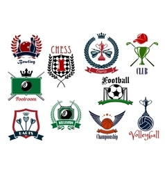 Various sports emblems and icons design vector image
