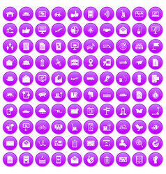 100 post and mail icons set purple vector