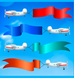 airplanes flags banners realistic vector image