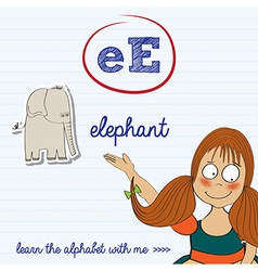 alphabet worksheet of the letter e vector image