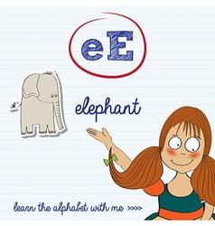 Alphabet worksheet of the letter e vector