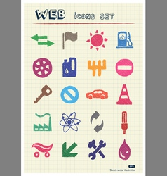 Auto and energy web icons set vector image