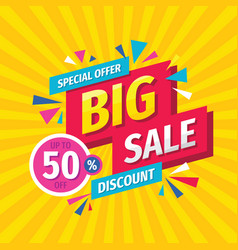big sale concept banner template design discount vector image