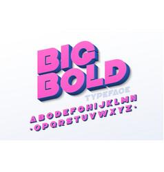 Bold 3d font vector