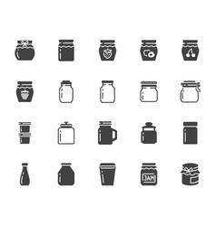 bottle of jam flat glyph icons glass packaging vector image
