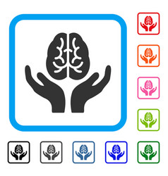 Brain care hands framed icon vector