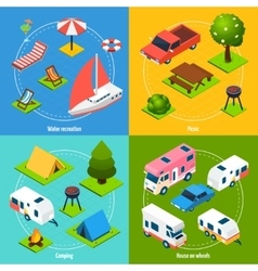 Camping And Travel Isometric 2x2 Icons Set vector image