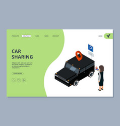 car sharing landing page woman finds car with vector image
