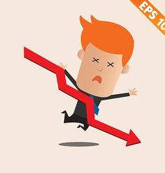 Cartoon Businessman negative graph - - EPS10 vector