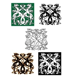 Celtic wolfs tied into knot ornament vector
