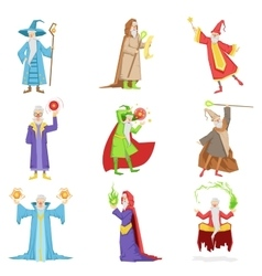 Classic Fantasy Wizards Set Of Characters vector image