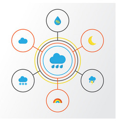 Climate flat icons set collection of bow rain vector