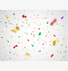colorful confetti falling on transparent vector image
