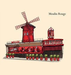 Colorful moulin rouge vector