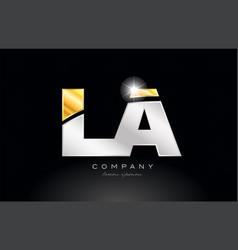 combination letter la l a alphabet with gold vector image