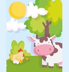 cow chicken and chicks tree sky farm animals vector image